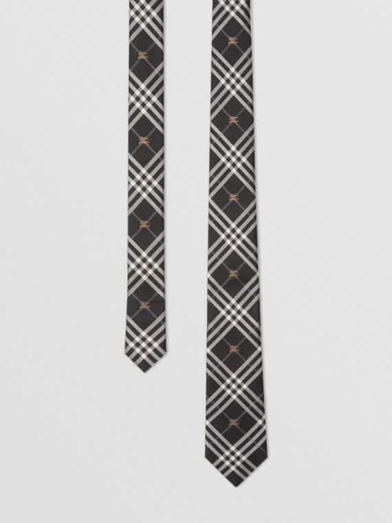 Slim Cut Equestrian Knight Check Silk Tie in Black