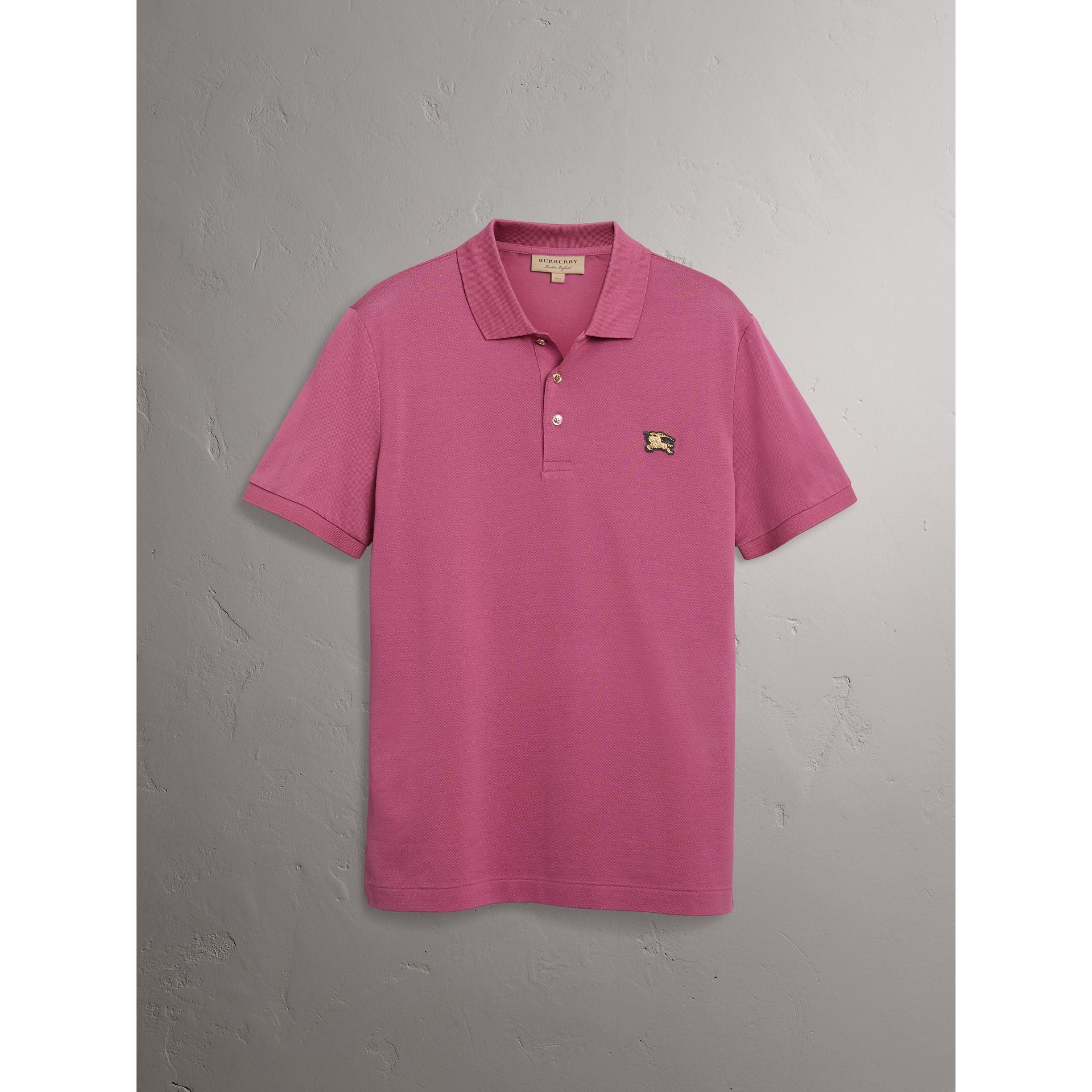 Cotton Piqué Polo Shirt in Pink Azalea - Men | Burberry United Kingdom - gallery image 3