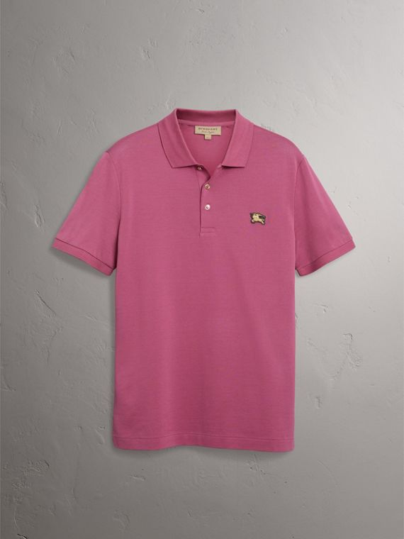 Cotton Piqué Polo Shirt in Pink Azalea - Men | Burberry - cell image 3