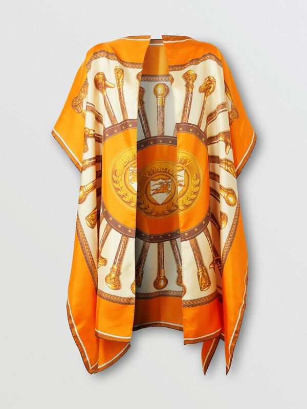 Archive Scarf Print Silk Twill Cape in Bright Orange - Women | Burberry United States - cell image 3