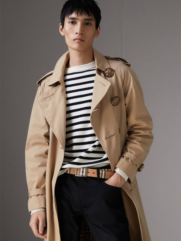 Reversible Haymarket Check and Leather Belt in Black - Men | Burberry Australia - cell image 2