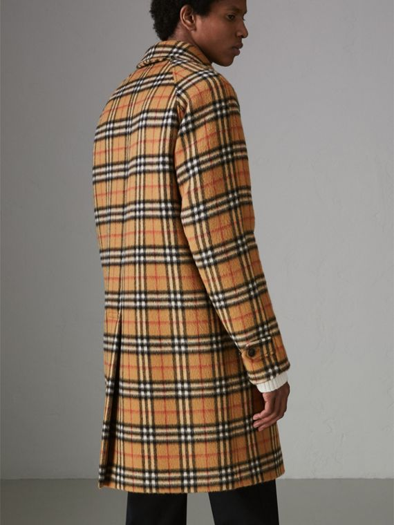 Vintage Check Alpaca Wool Car Coat in Antique Yellow - Men | Burberry - cell image 2