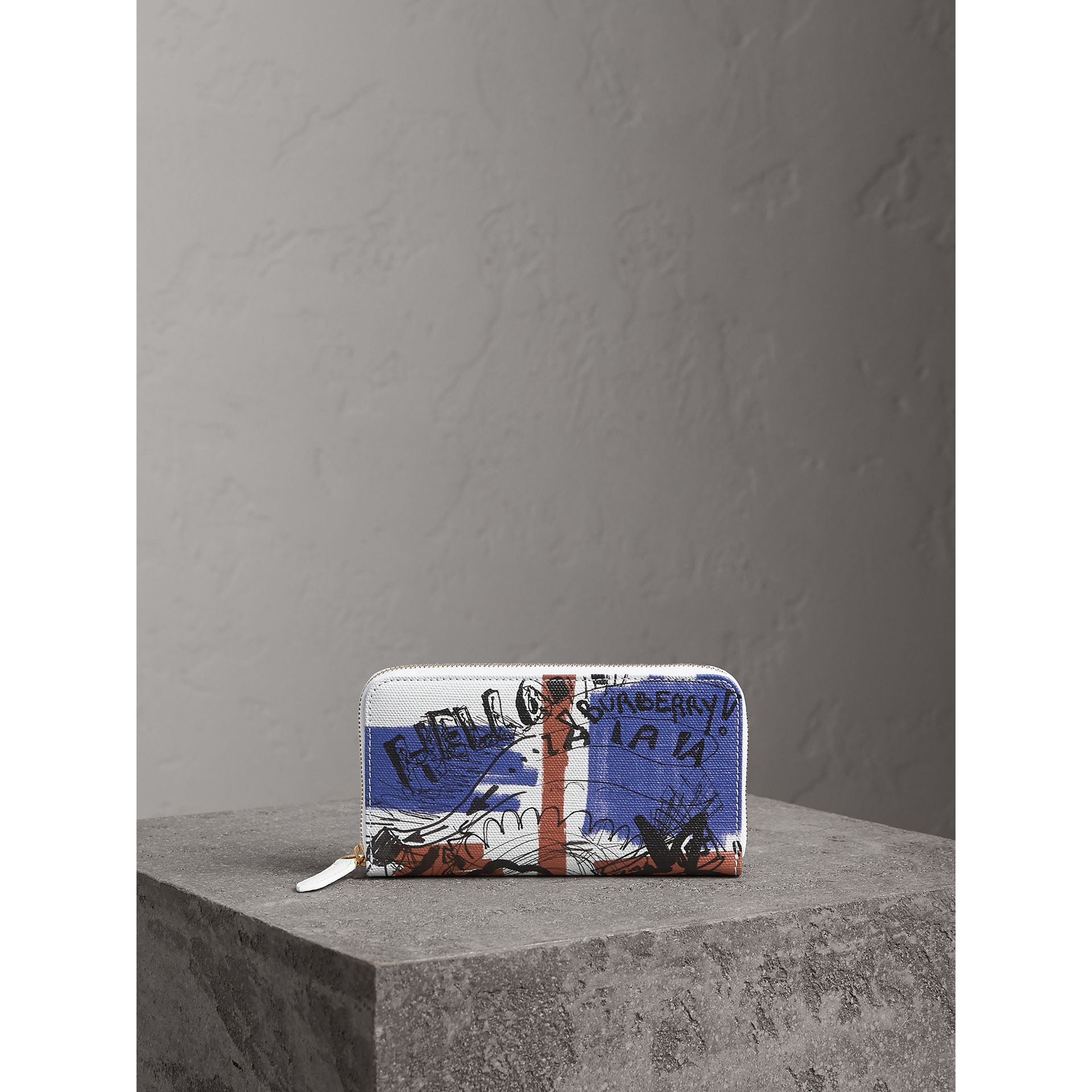 Doodle Print Coated Canvas Ziparound Wallet in Red/blue | Burberry United States - gallery image 4
