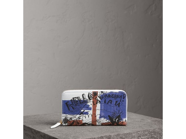 Doodle Print Coated Canvas Ziparound Wallet in Red/blue | Burberry - cell image 4