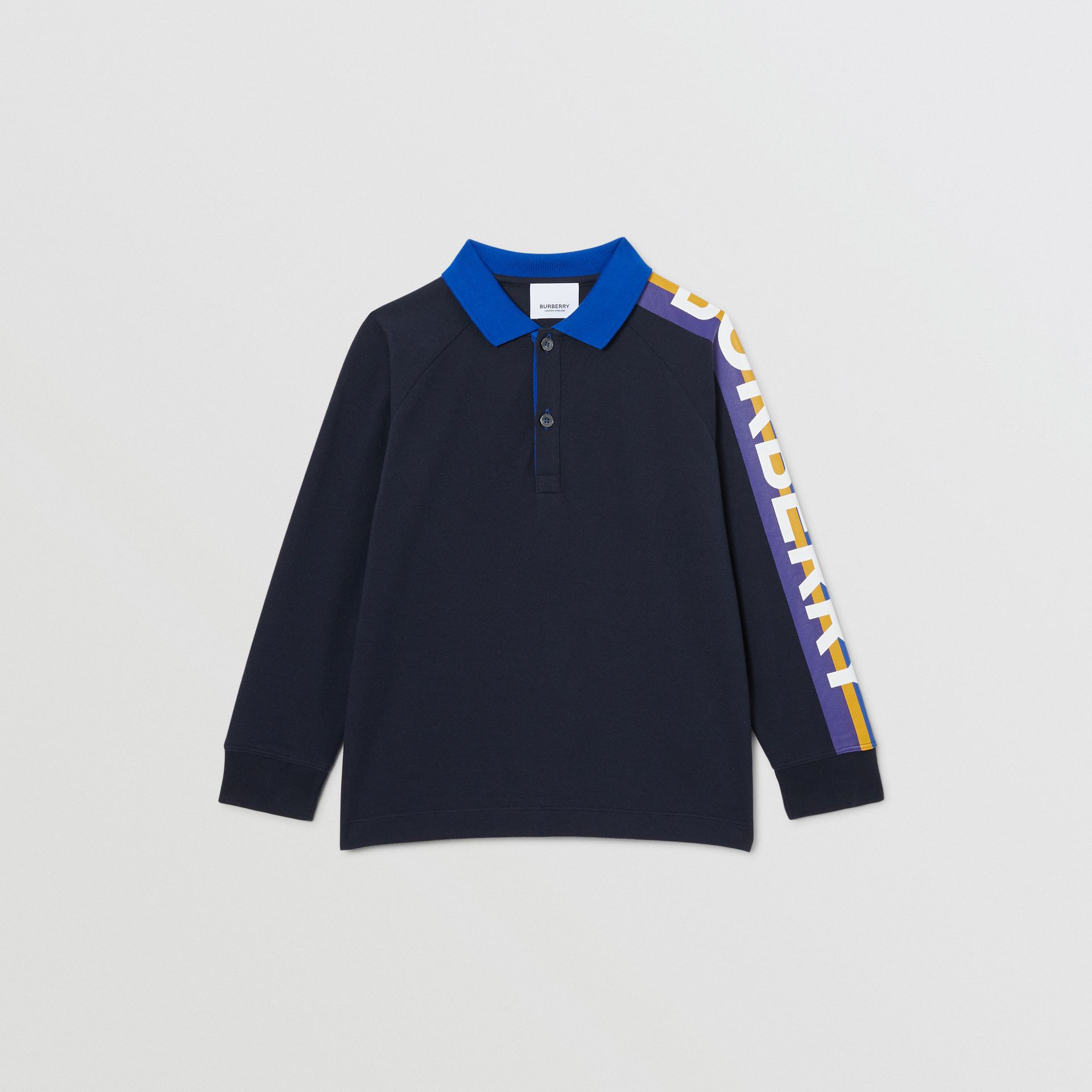 Long-sleeve Logo Print Cotton Polo Shirt in Navy | Burberry Australia - gallery image 0