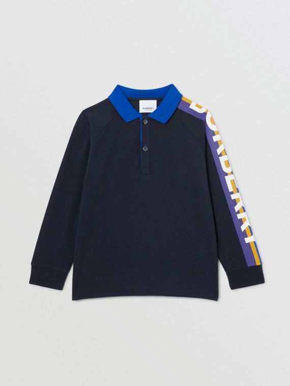 Long-sleeve Logo Print Cotton Polo Shirt in Navy