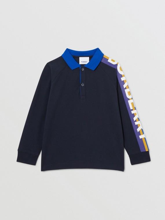 Polo à manches longues en coton avec logo (Marine)
