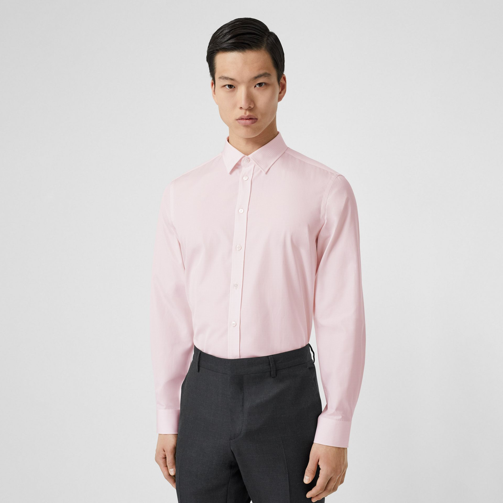Slim Fit Micro Check Cotton Poplin Shirt in Alabaster Pink - Men | Burberry - gallery image 0