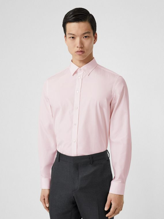 Slim Fit Micro Check Cotton Poplin Shirt in Alabaster Pink