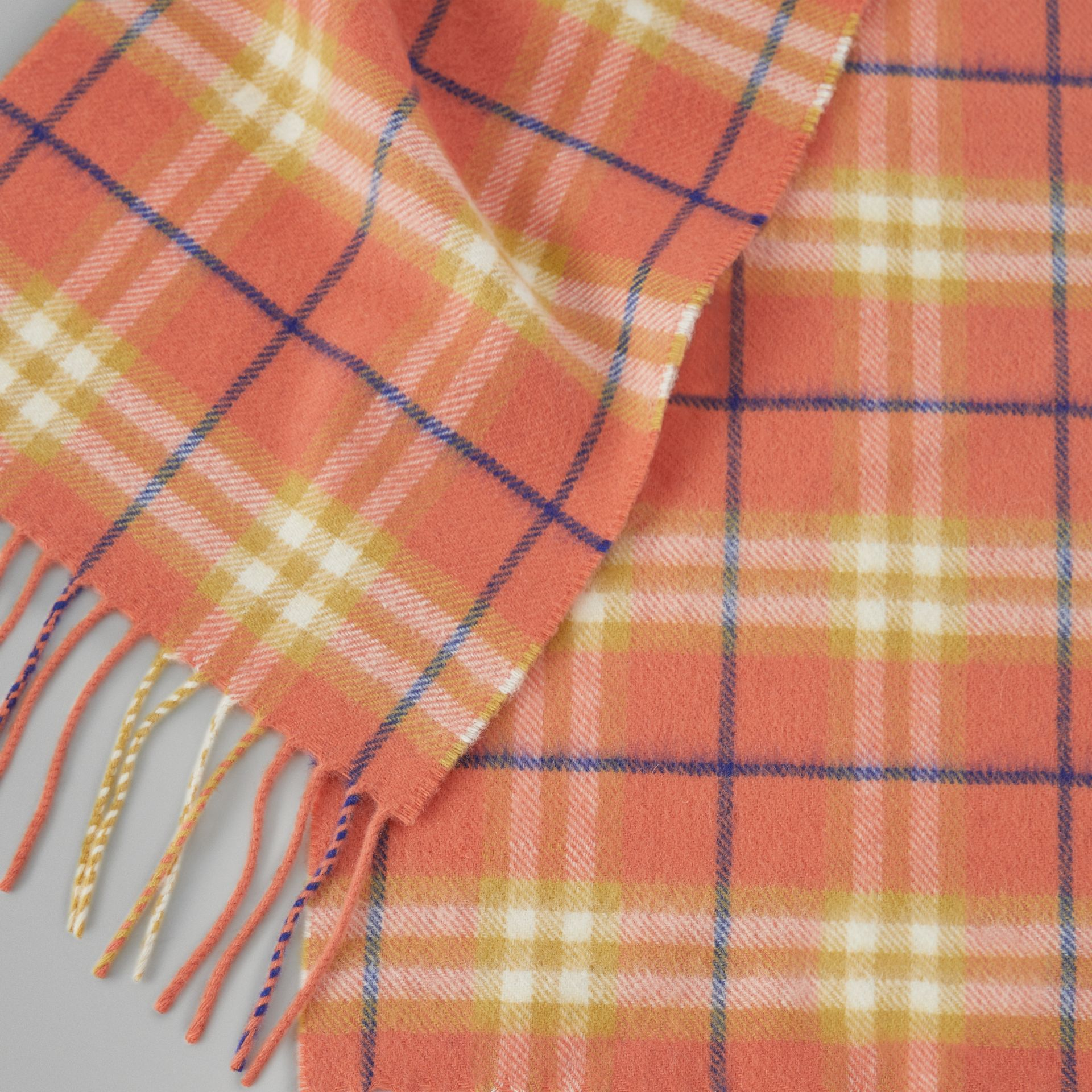 The Mini Classic Vintage Check Cashmere Scarf in Coral - Children | Burberry - gallery image 1