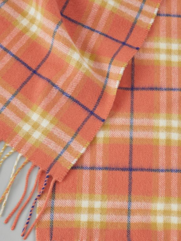 The Mini Classic Vintage Check Cashmere Scarf in Coral - Children | Burberry - cell image 1
