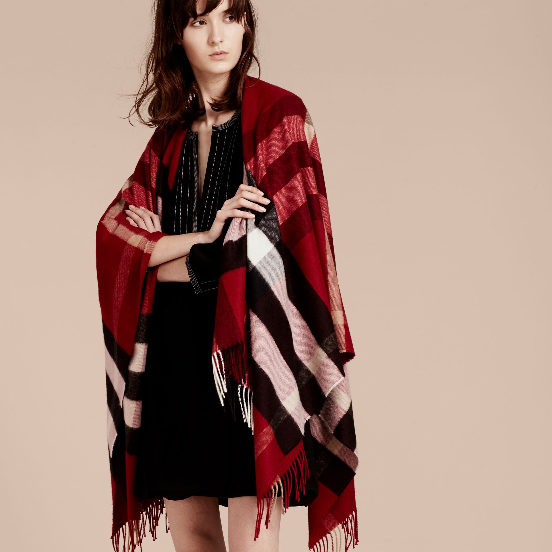 Check Cashmere and Wool Poncho Parade Red - gallery image 1
