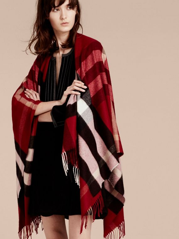 Check Cashmere and Wool Poncho Parade Red