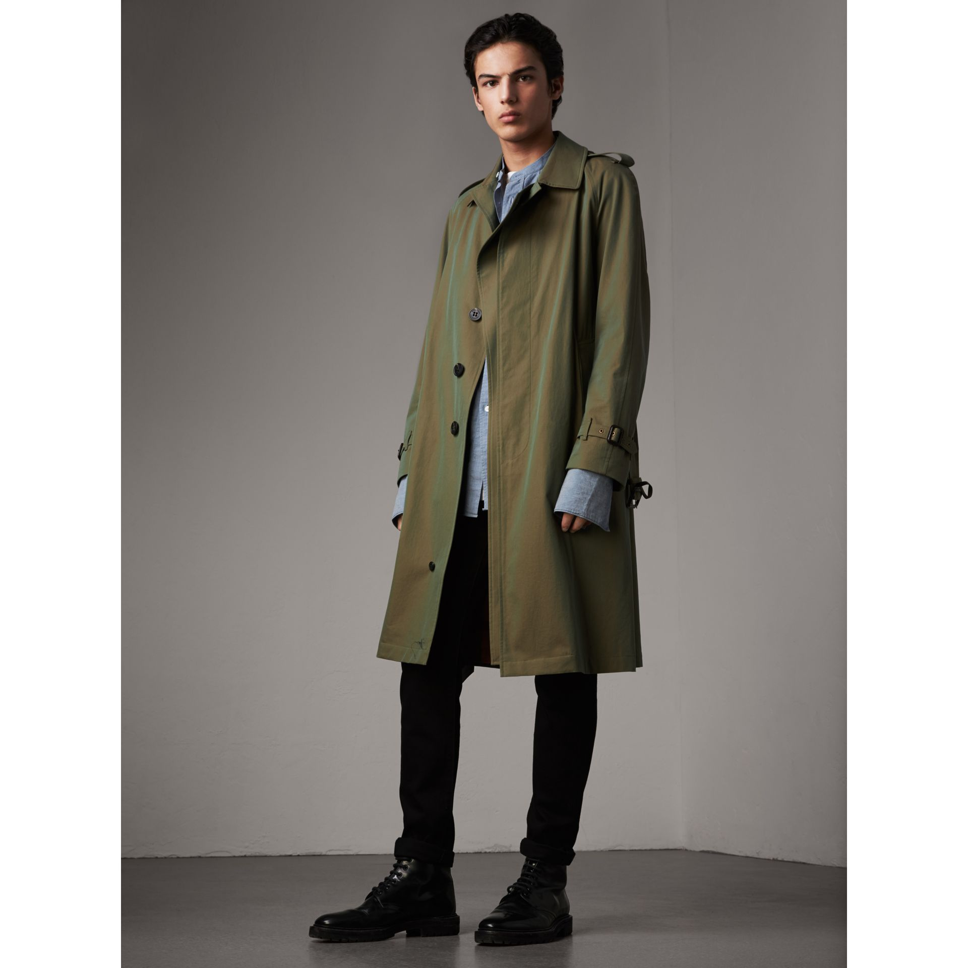 Oversize Storm Shield Tropical Gabardine Trench Coat in Bright Olive - Men | Burberry - gallery image 1