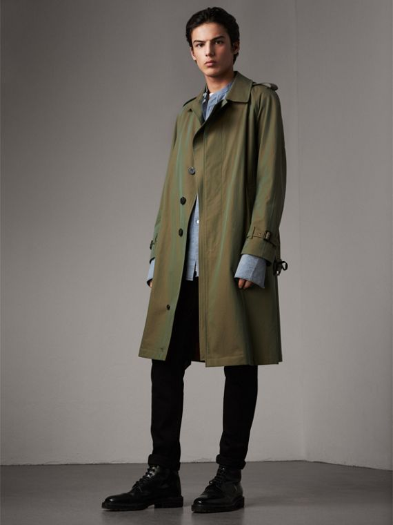 Oversize Storm Shield Tropical Gabardine Trench Coat in Bright Olive