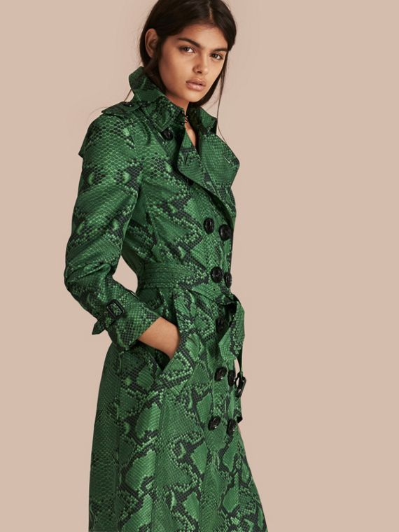Python Print Silk Trench Coat Bright Green