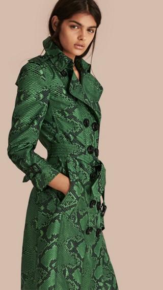Python Print Silk Trench Coat
