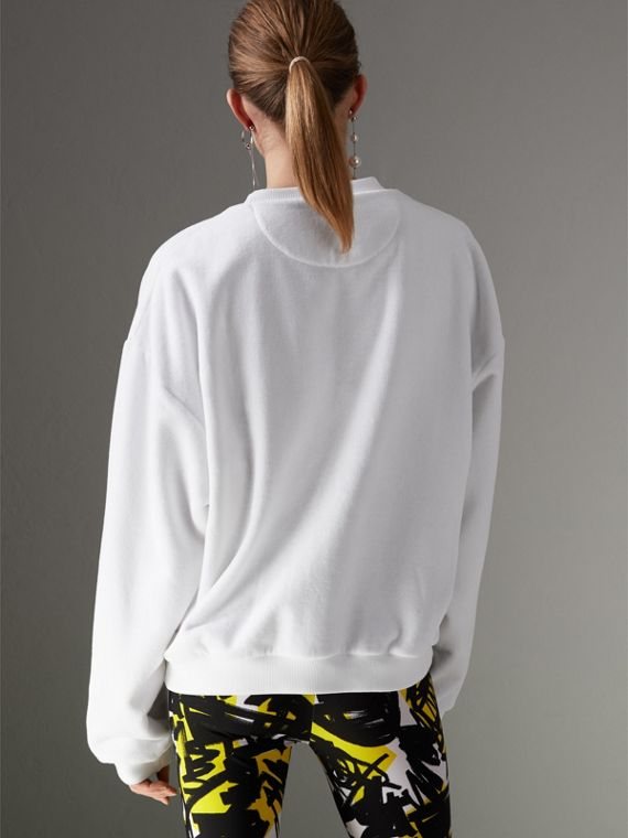 Archive Logo Towelling Sweatshirt in White - Women | Burberry - cell image 2