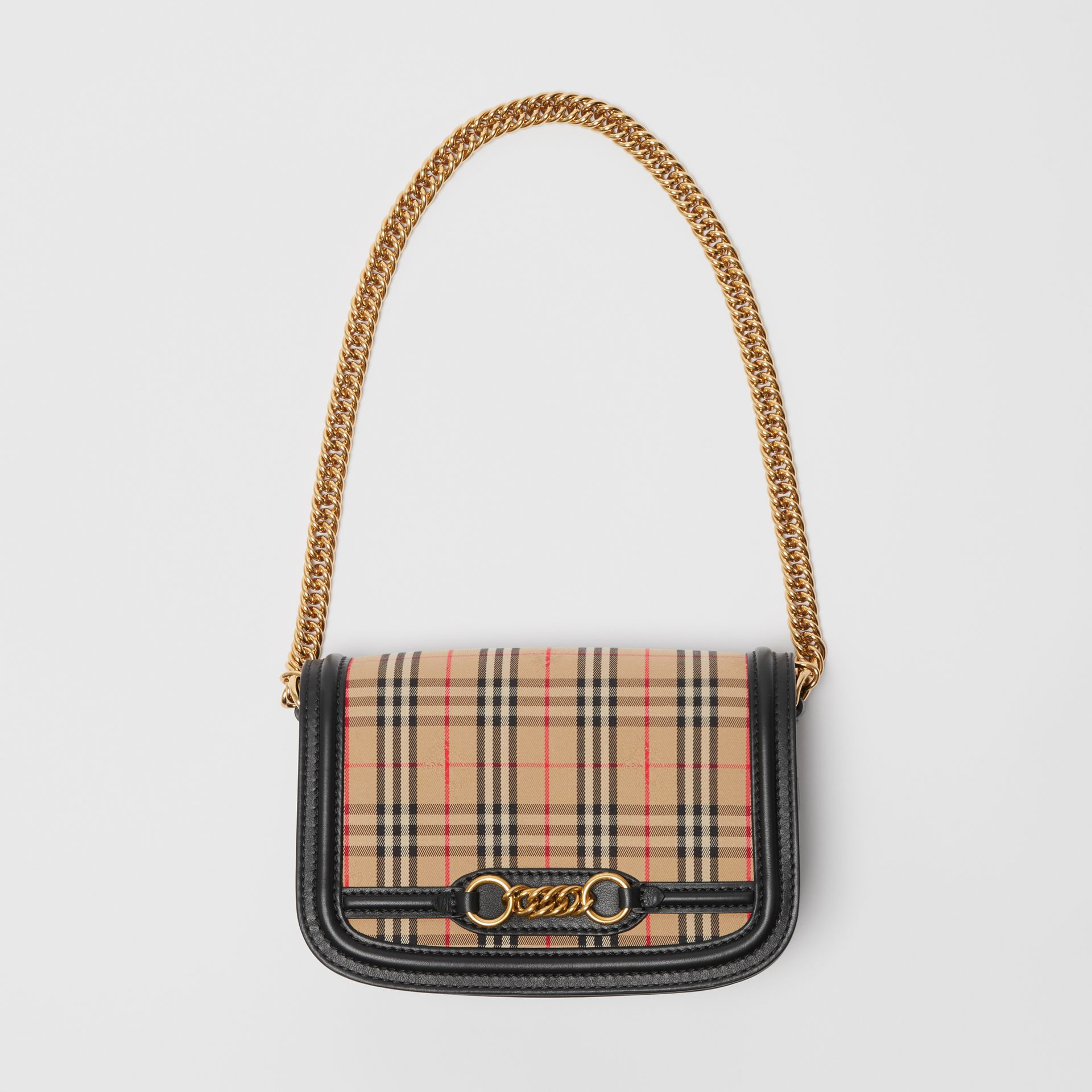 The 1983 Check Link Bag with Leather Trim in Black - Women | Burberry United Kingdom - gallery image 4