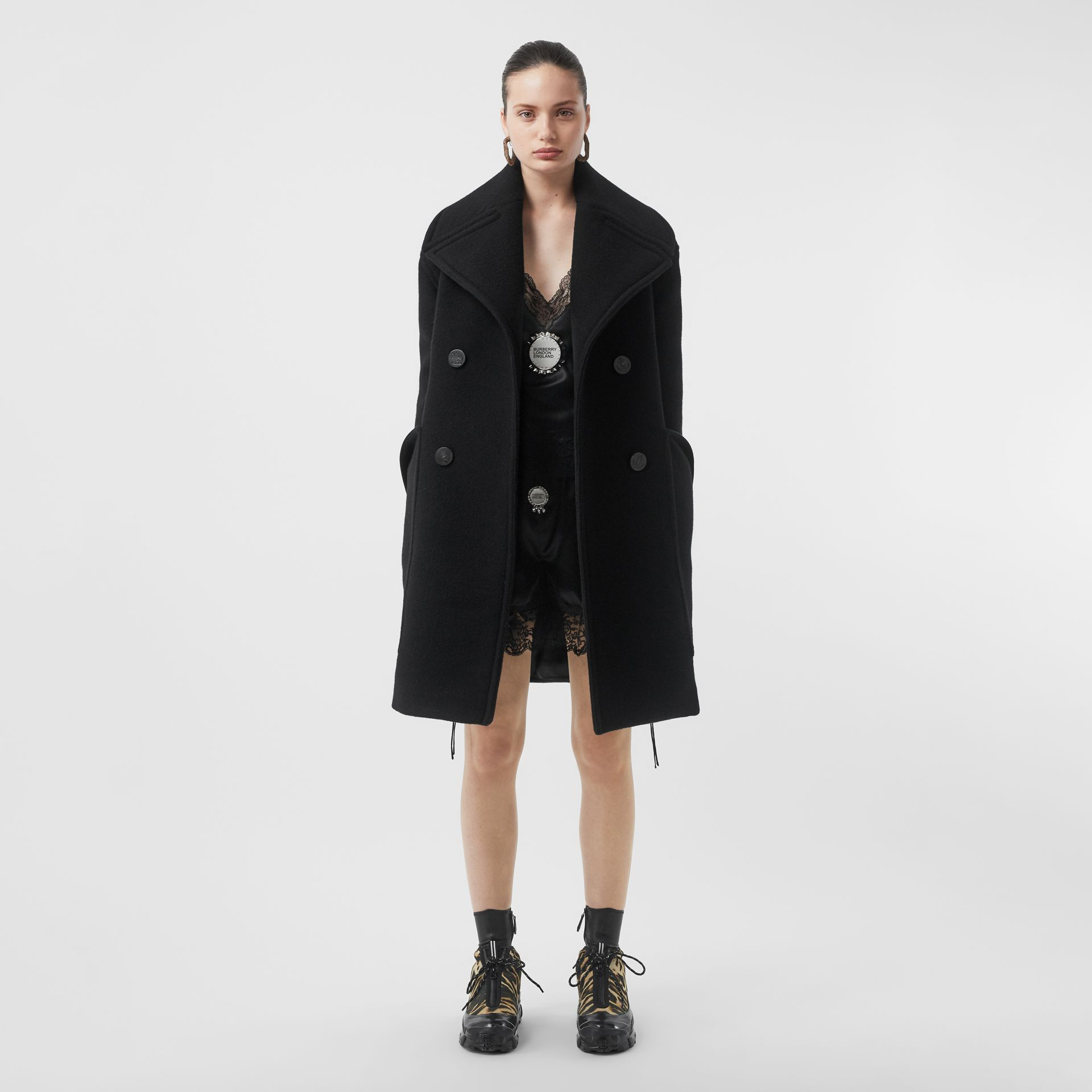 Wool Oversized Pea Coat in Black - Women | Burberry - gallery image 0