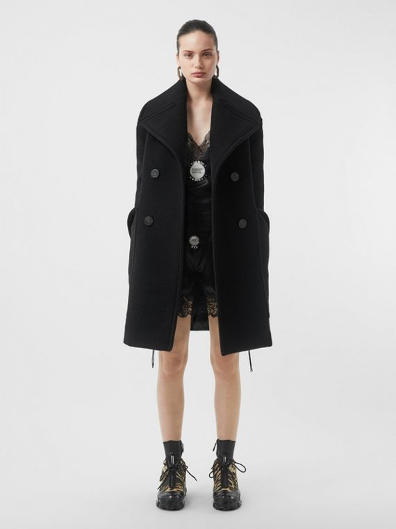 Wool Oversized Pea Coat in Black