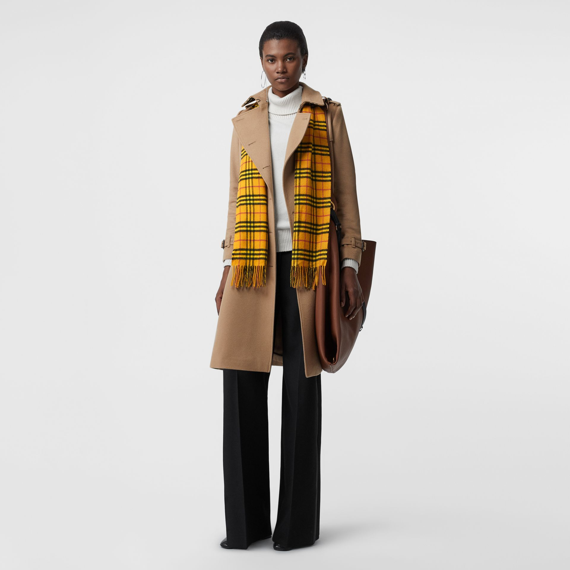 The Classic Vintage Check Cashmere Scarf in Vibrant Yellow | Burberry - gallery image 2