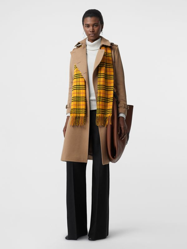 The Classic Vintage Check Cashmere Scarf in Vibrant Yellow | Burberry Hong Kong - cell image 2