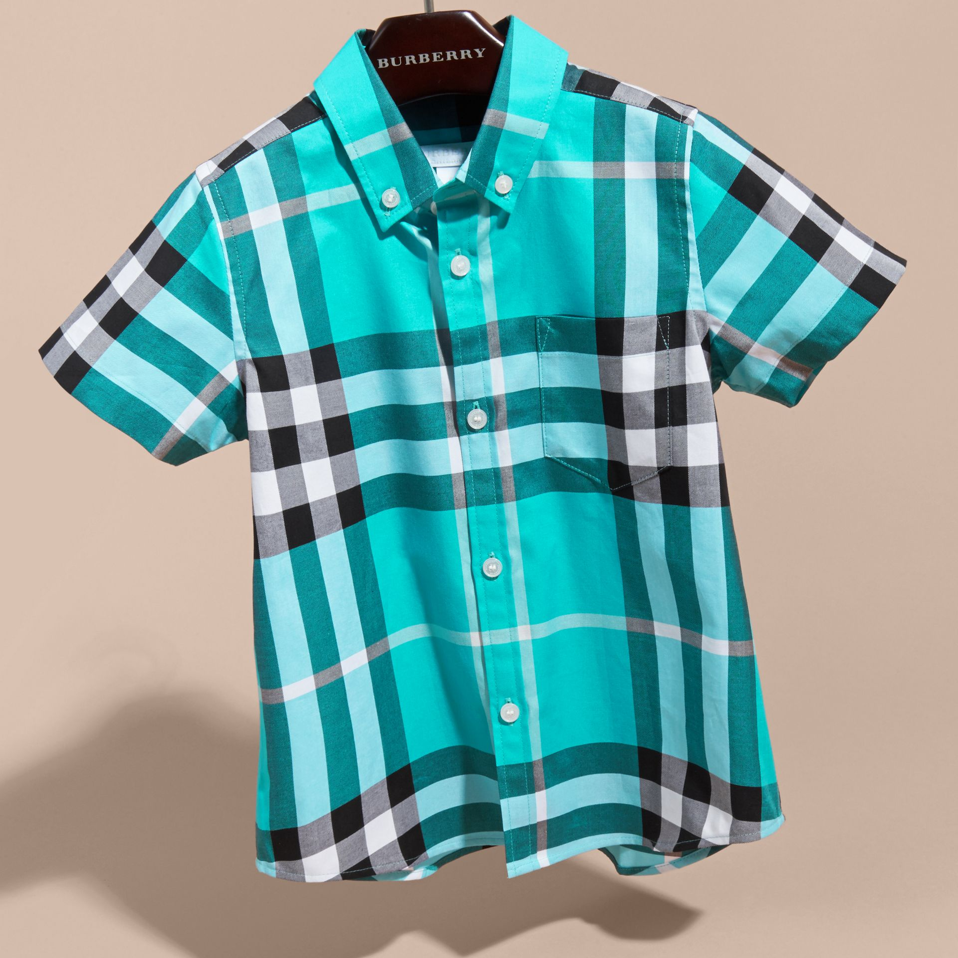 Short-sleeve Check Cotton Twill Shirt in Cyan Green - Boy | Burberry - gallery image 3