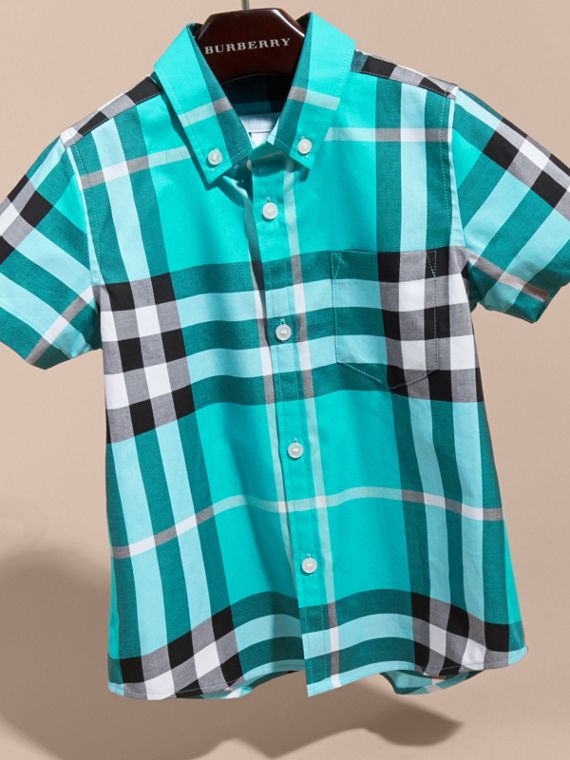 Short-sleeve Check Cotton Twill Shirt in Cyan Green - Boy | Burberry - cell image 2