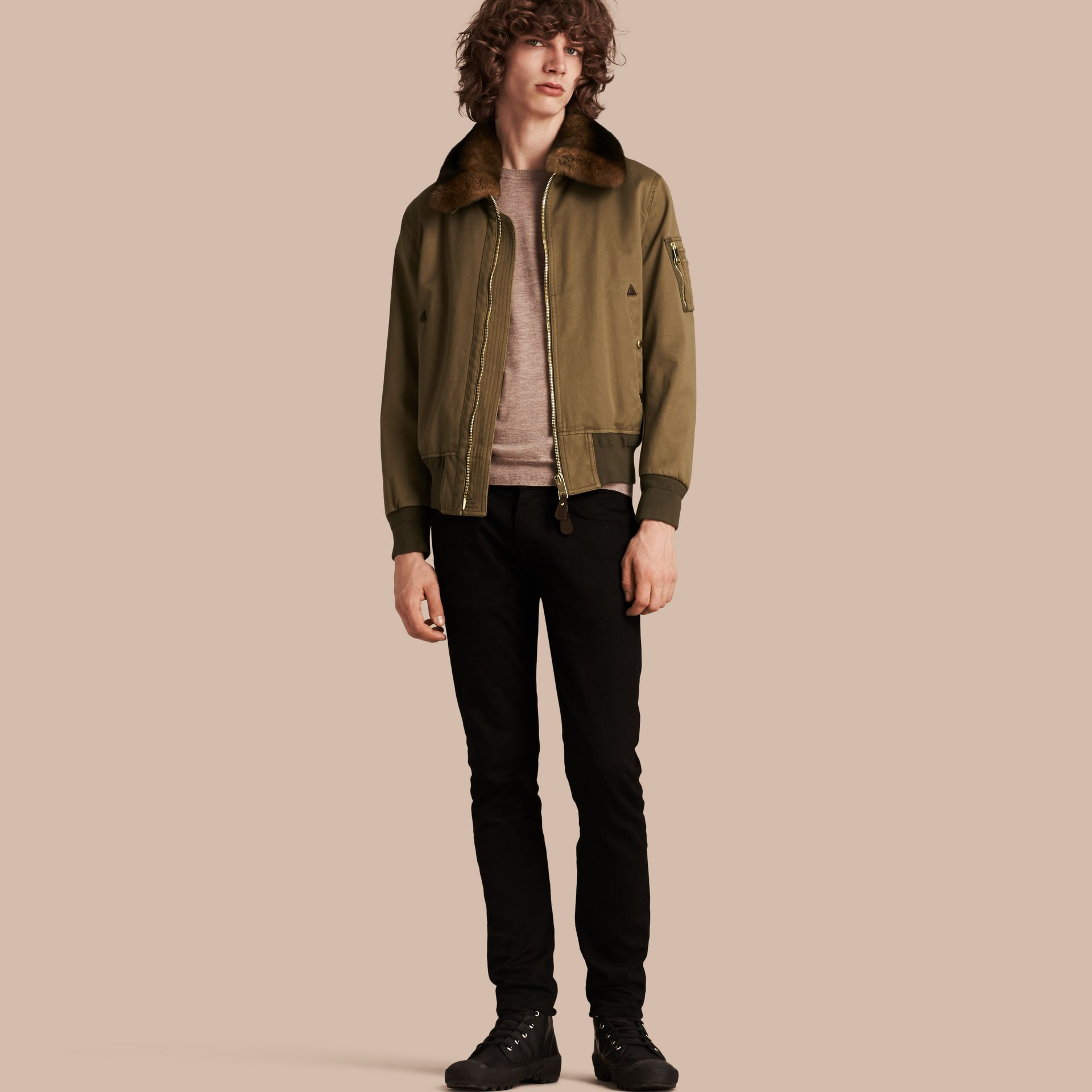Olive green Cotton Bomber Jacket with Detachable Fur-lined Warmer - gallery image 1
