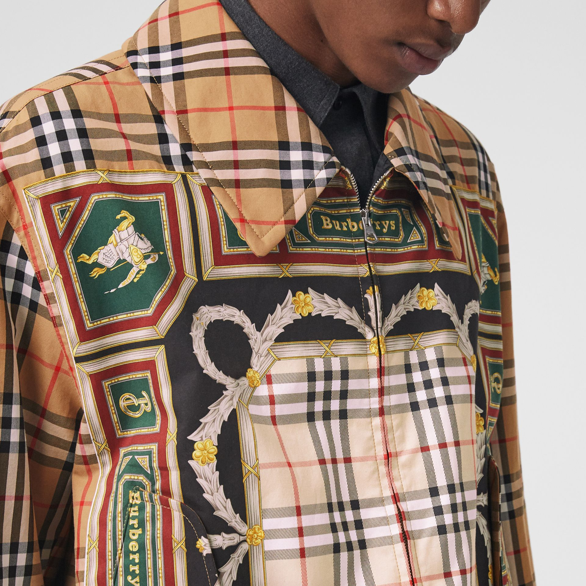 Archive Scarf Print Harrington Jacket in Antique Yellow - Men | Burberry - gallery image 4