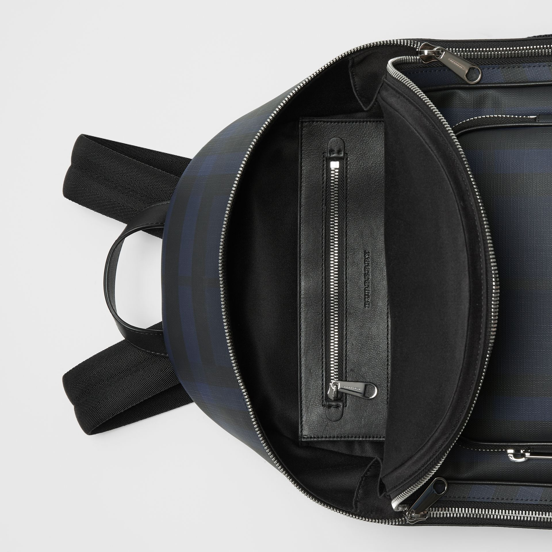 London Check and Leather Backpack in Navy/black - Men | Burberry Singapore - gallery image 5