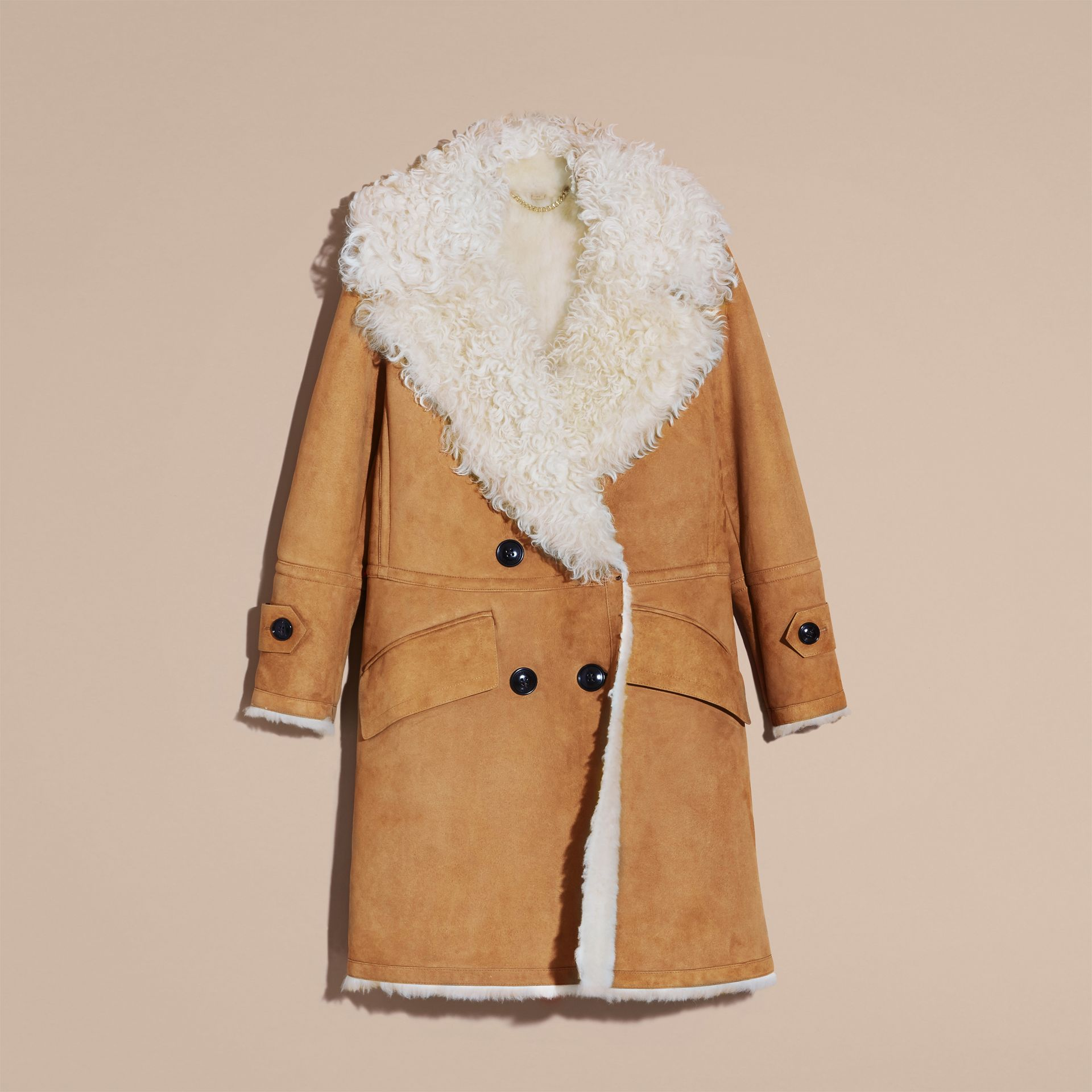 Ecru/tan Double-breasted Shearling Coat - gallery image 4