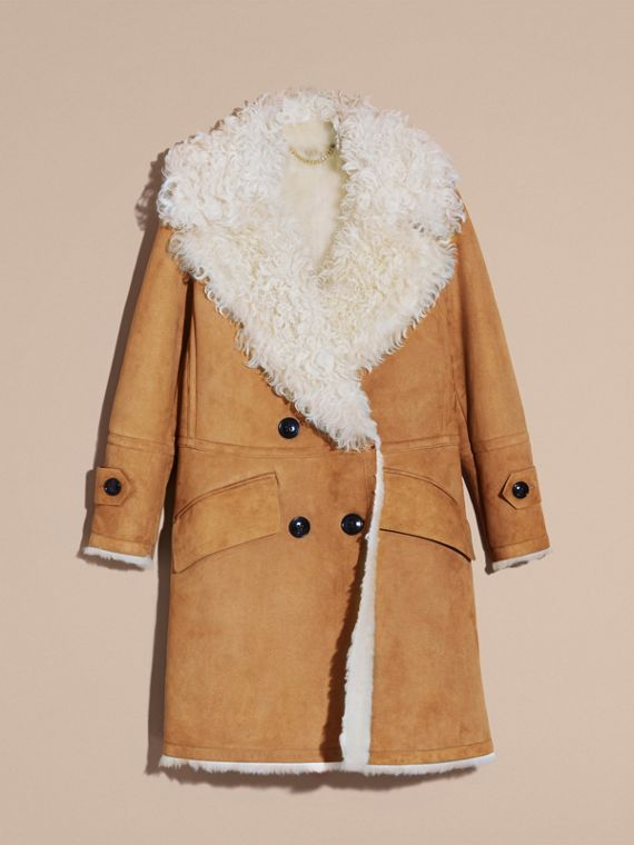 Ecru/tan Double-breasted Shearling Coat - cell image 3