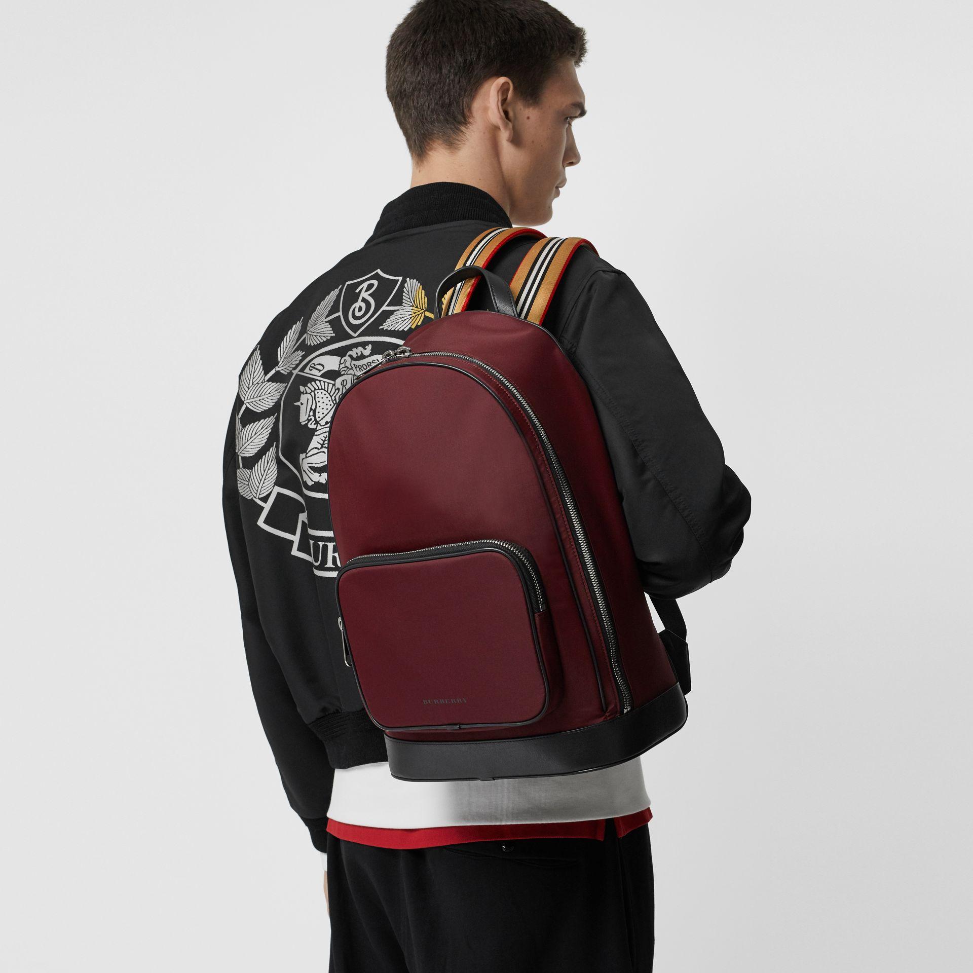 Icon Stripe Detail Nylon Backpack in Oxblood - Men | Burberry - gallery image 3
