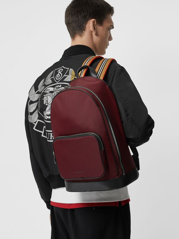 Icon Stripe Detail Nylon Backpack in Oxblood - Men | Burberry - cell image 3