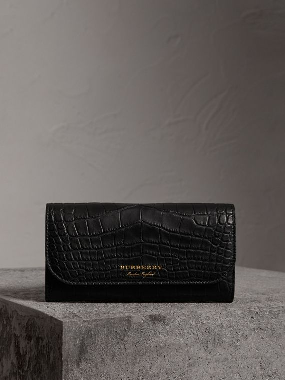 Alligator and Leather Continental Wallet in Black