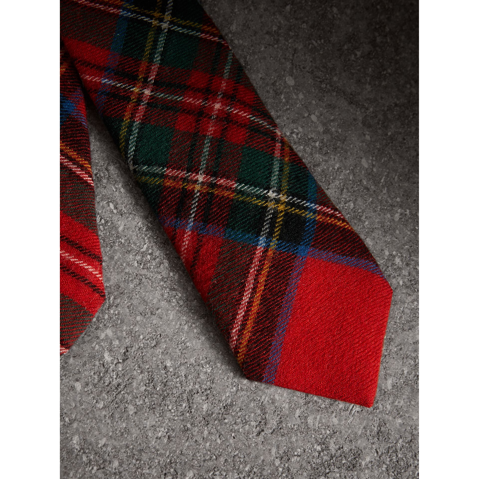 Slim Cut Tartan Wool Flannel Tie in Bright Red - Men | Burberry - gallery image 1