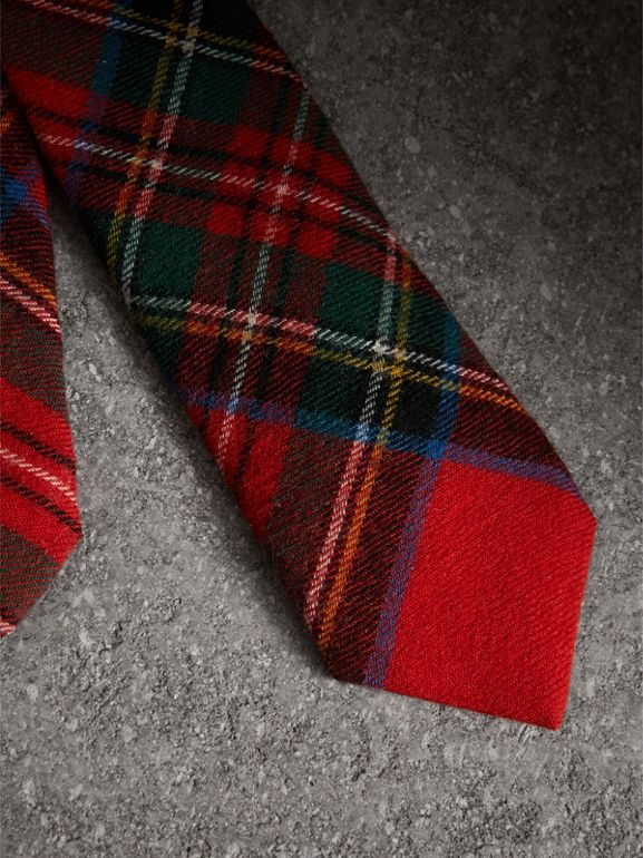 Slim Cut Tartan Wool Flannel Tie in Bright Red - Men | Burberry - cell image 1