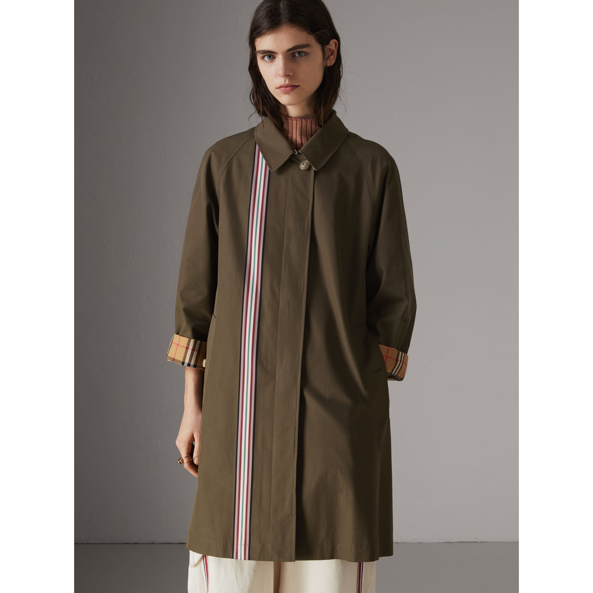 Striped Ribbon Cotton Gabardine Car Coat in Olive - Women | Burberry - gallery image 6