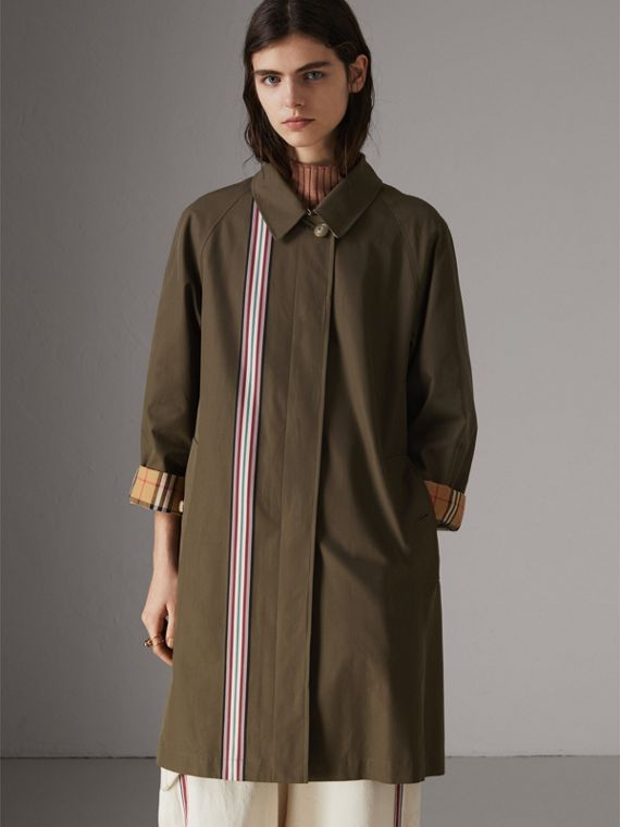 Striped Ribbon Cotton Gabardine Car Coat in Olive