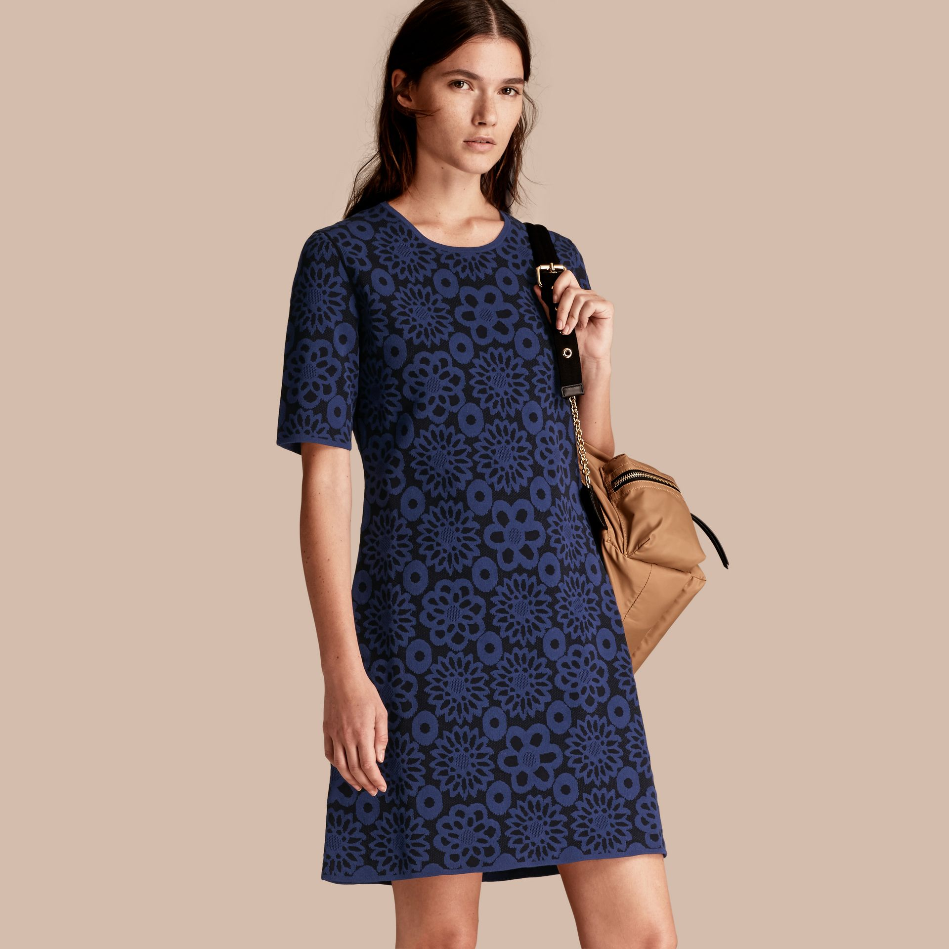 Navy Floral Jacquard Shift Dress - gallery image 1