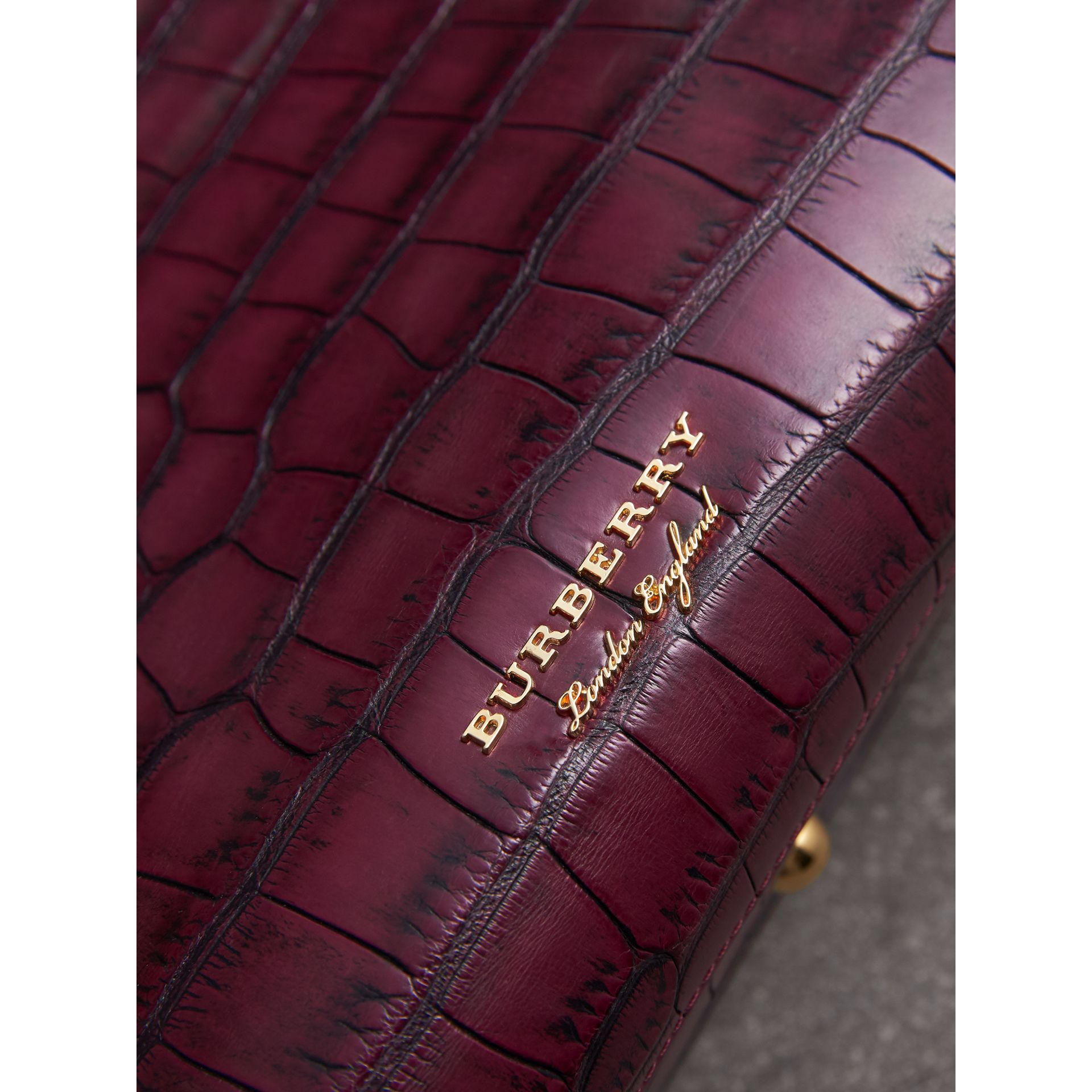 The Medium Banner in Alligator in Elderberry - Women | Burberry - gallery image 1