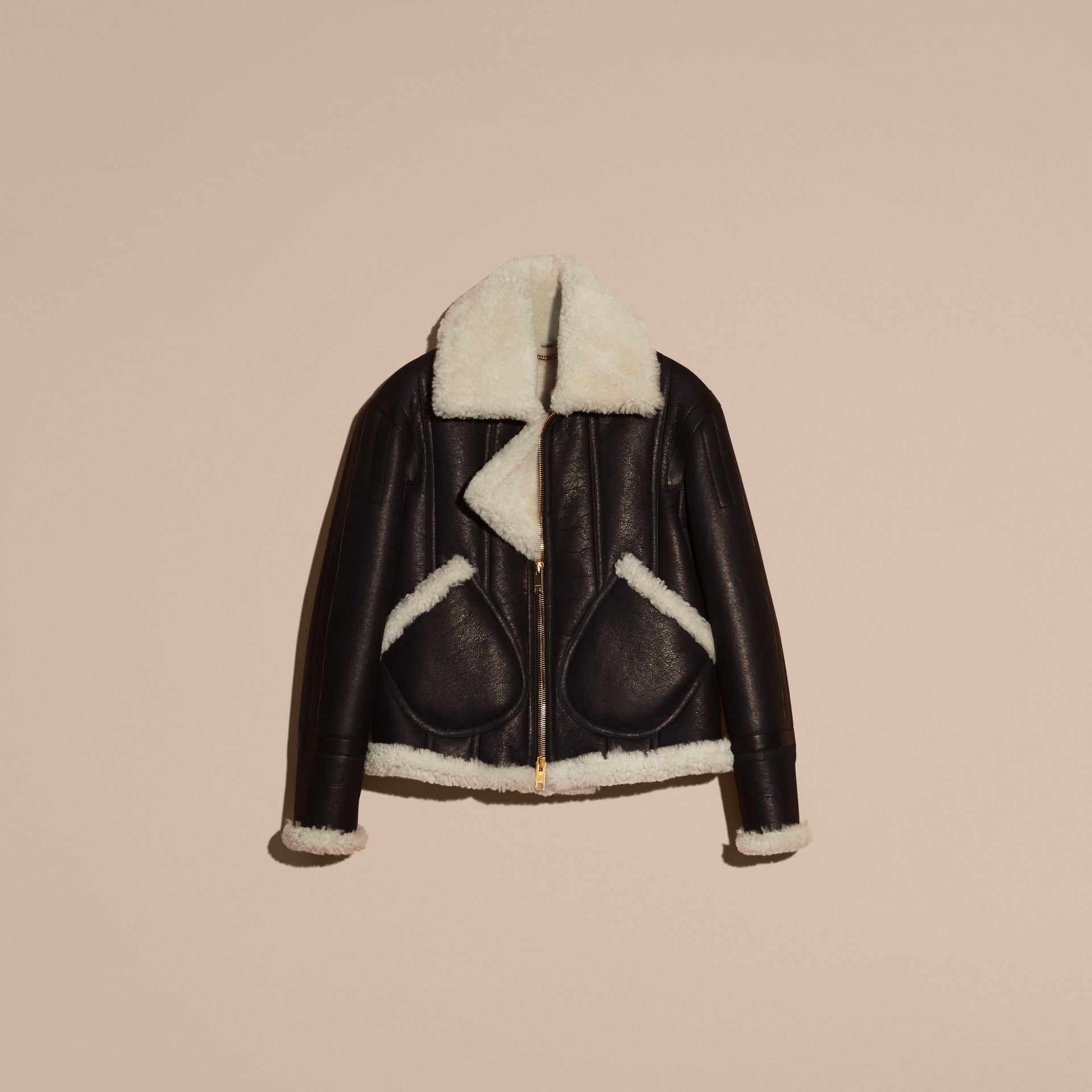 Black/natural Panelled Shearling Aviator Jacket - gallery image 4