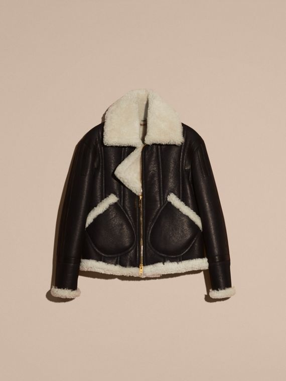 Black/natural Panelled Shearling Aviator Jacket - cell image 3