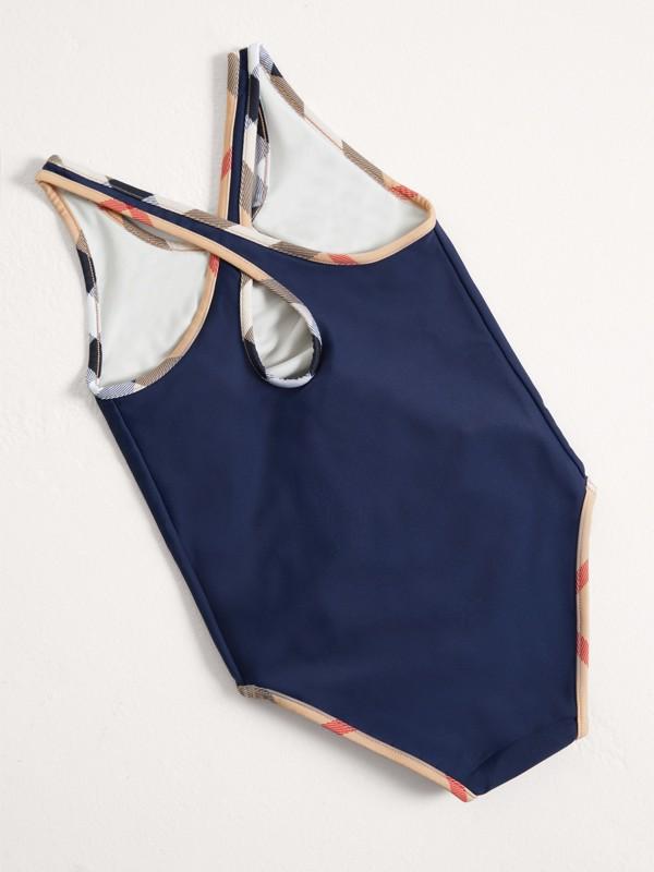 Costume da bagno intero con dettagli check (Navy) - Bambina | Burberry - cell image 2