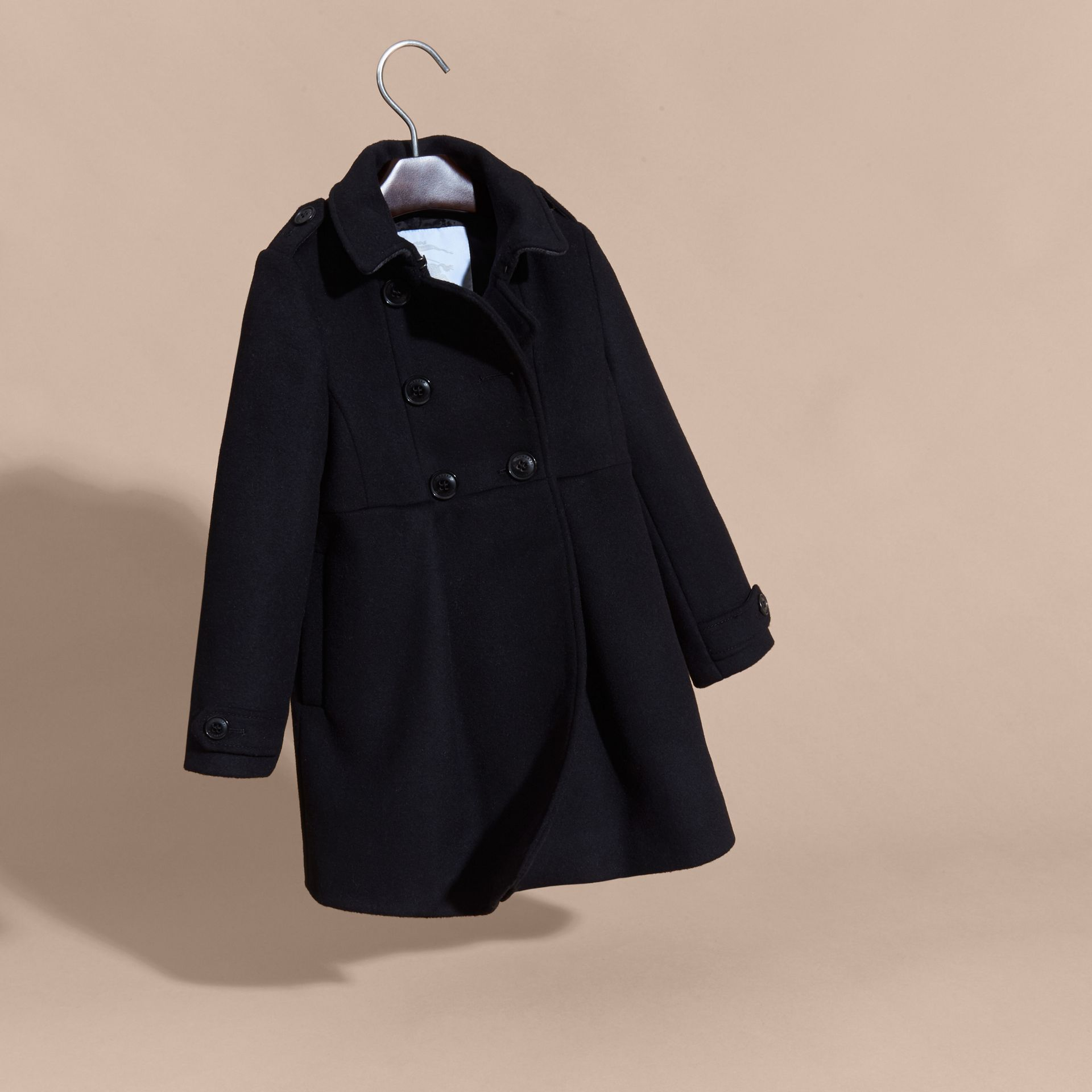 Black Cashmere Military Coat Black - gallery image 3