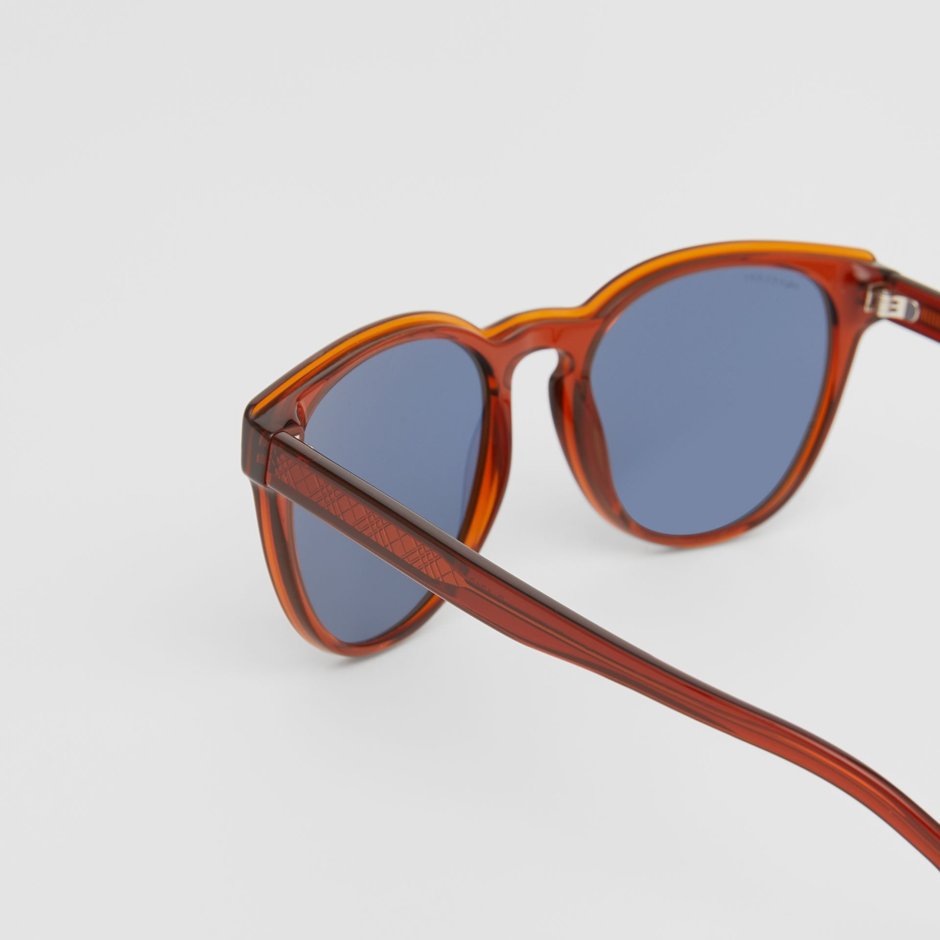 Round Frame Sunglasses in Amber - Men | Burberry Australia - gallery image 1