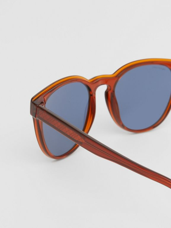 Round Frame Sunglasses in Amber - Men | Burberry Australia - cell image 1