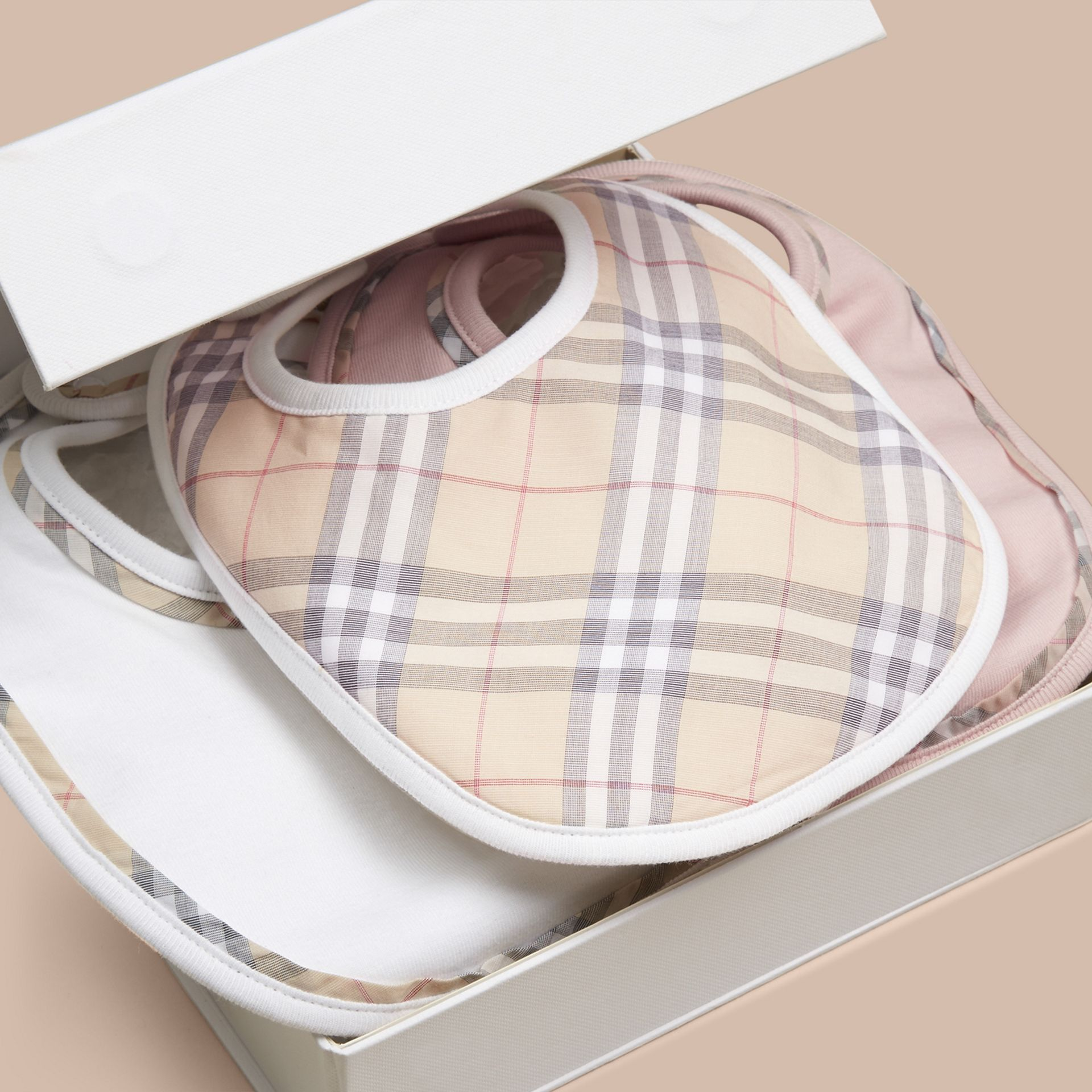 Check Cotton Three-Piece Baby Bib Gift Set Powder Pink - gallery image 3